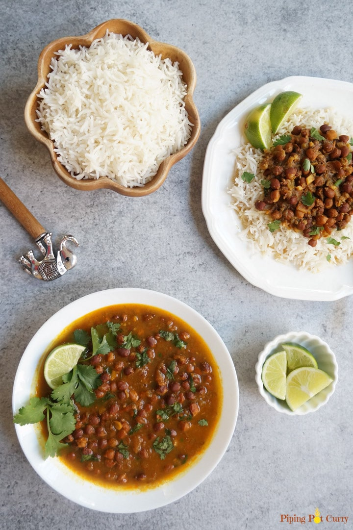 Kala Chana or Black Chickpeas Curry made in instant pot, served with rice in a bowl