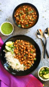 Instant Pot Chana Masala served along with basmati rice.