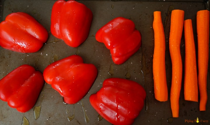 Red peppers and Carrots - Ready to roast