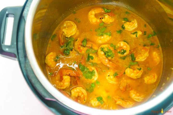 Coconut Shrimp Curry cooked in Instant Pot