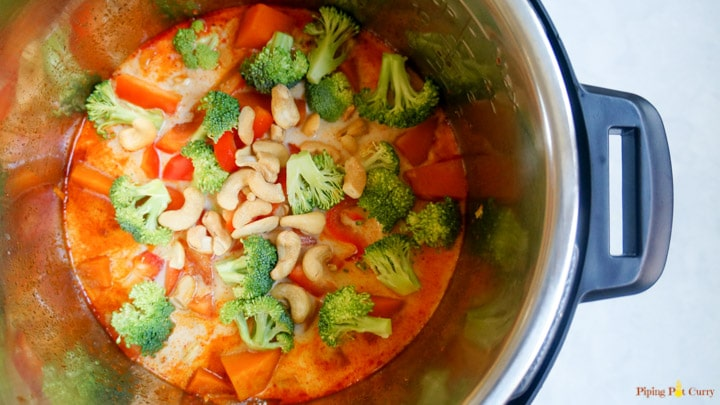 Thai Pumpkin Curry Instant Pot - Add Veggies added
