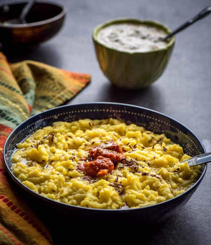 Khichdi made in Instant Pot, topped with pickle