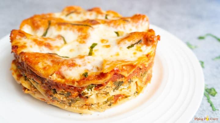 Spinach Artichoke Lasagna - Instant Pot Closeup