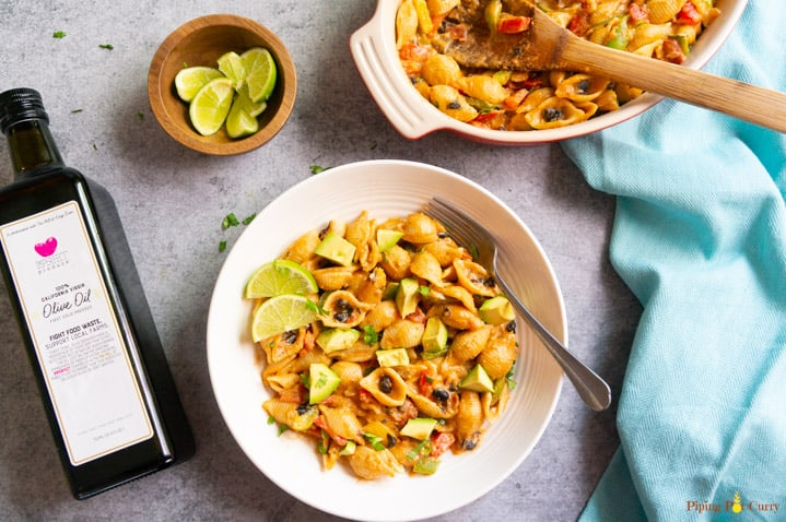 Instant Pot Fajita Pasta - with olive oil.