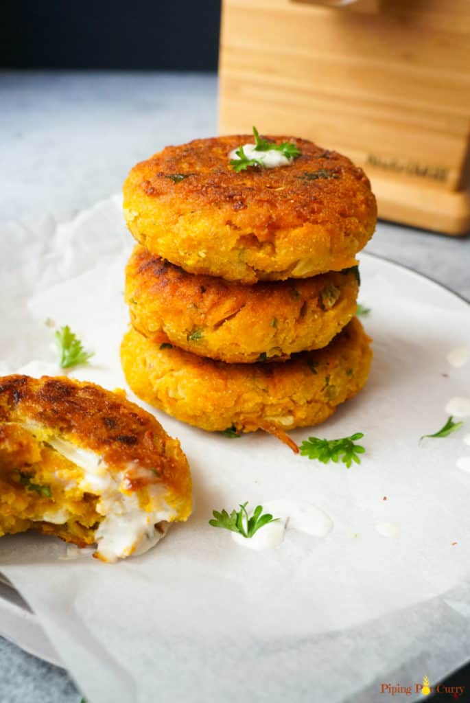 Pumpkin Chickpea Burgers with Nutrimill in the back
