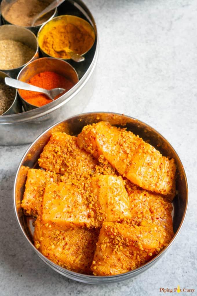Salmon marinated to make Salmon Tikka Masala
