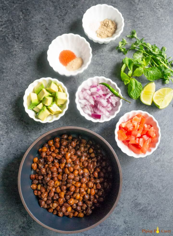 Kala Chana Chaat. Black Chickpea Salad ingredients in small bowls