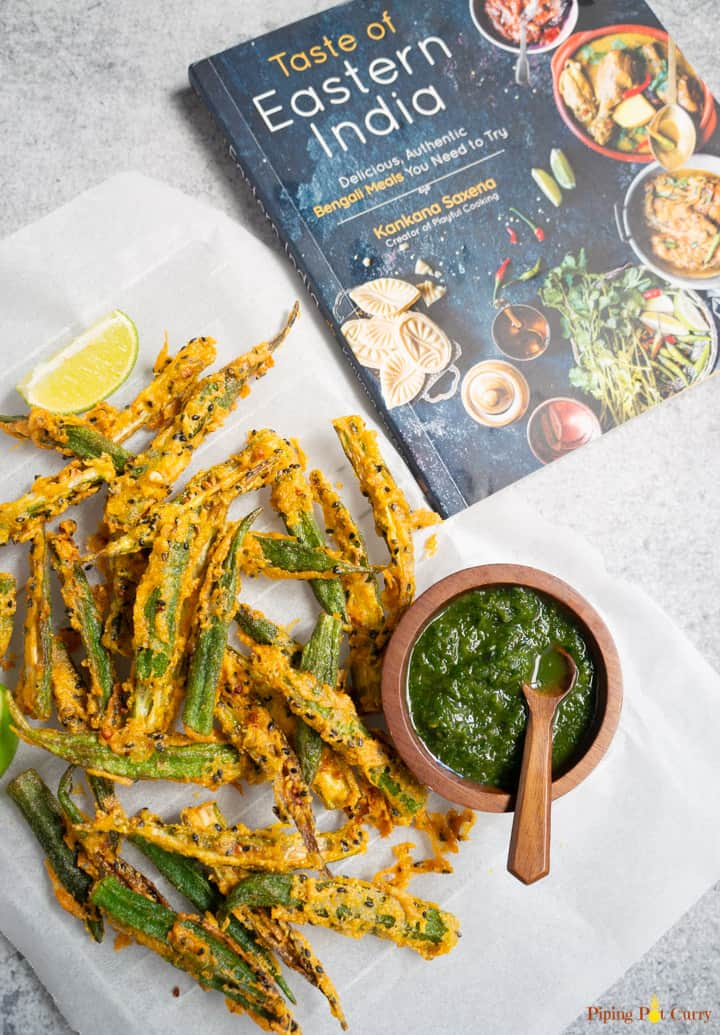 Crispy Fried Okra / Kurkuri Bhindi with green chutney and the cookbook