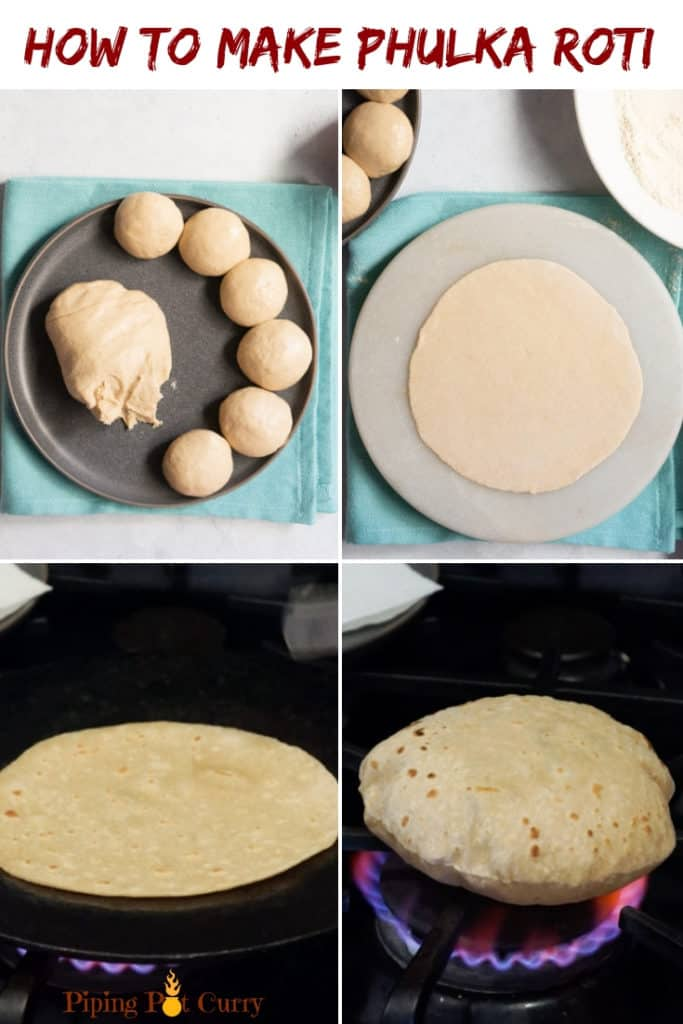 How to make Phulka Roti steps - Whole wheat indian flatbread