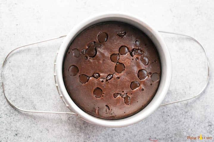 Fudgy Brownie topped with chocolate chips cooked in the instant pot