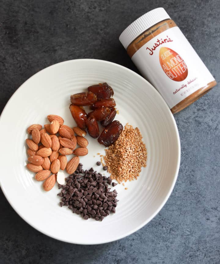 Ingredients to make Almond Butter Energy Balls