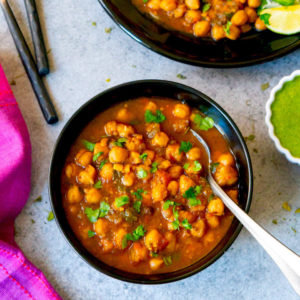Chana Masala (Chickpea curry) served in a black bowl