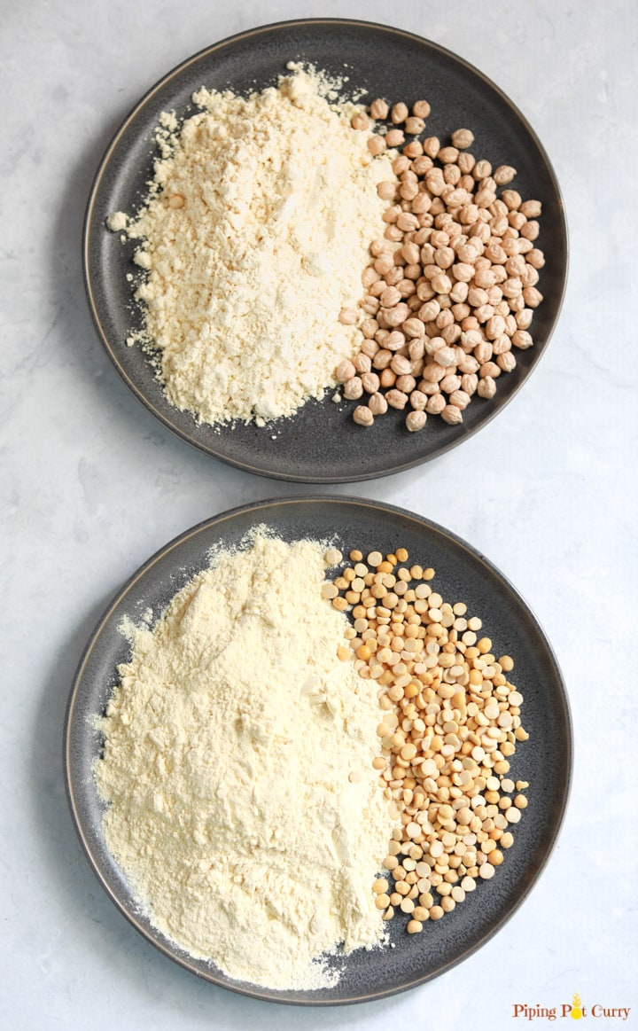Chickpeas & chickpea flour in a gray plate and Chana Dal and it's flour in another gray plate