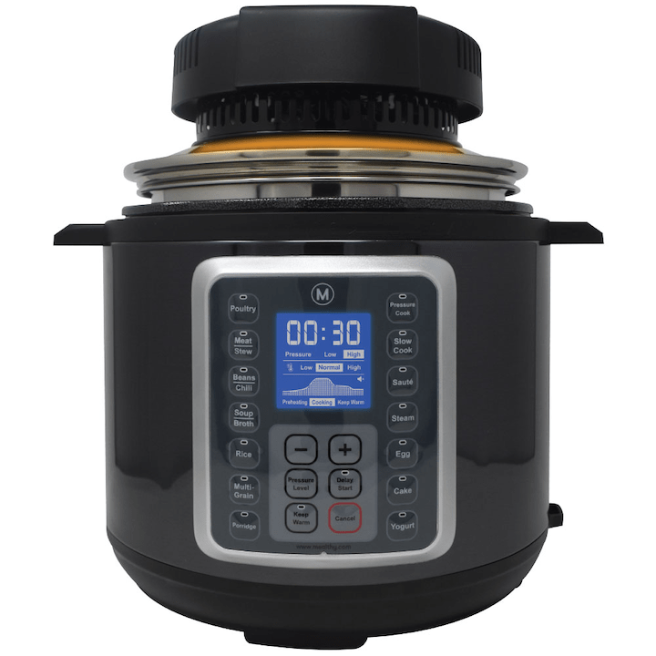 Mealthy Crisplid on top of Mealthy pressure cooker