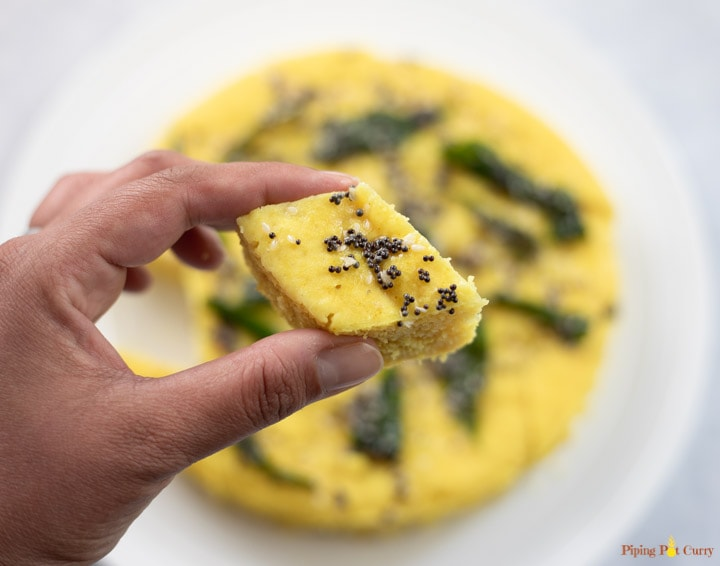 Closeup of yellow Khaman dhokla