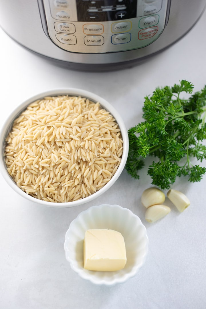 Ingredients to make Garlic Parmesan Orzo in instant pot